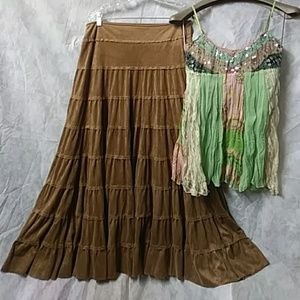 Boho chic bohemian long layered faux suede skirt