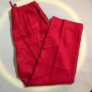 Classic Pendleton 100% Linen Slacks Red 14