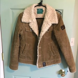 Corduroy jacket with sherpa lining