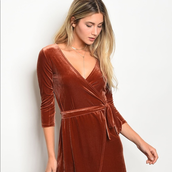 Slight Imperfection Burnt Orange Velvet Dress