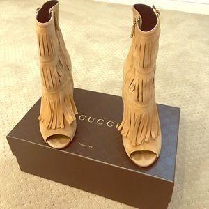 Women's Gucci fringe bootie.