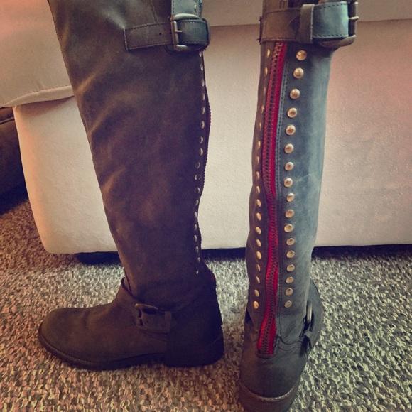 cortesía Brillar lineal  Steve Madden Shoes | Dark Grey Tall Boots W Red Zipper | Poshmark