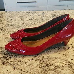 Me Too patent red kitten heels