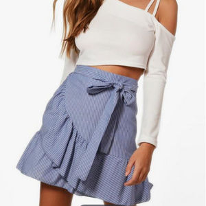 BOOHOO Ruffle Wrap Stripe Mini Skirt - Size US6