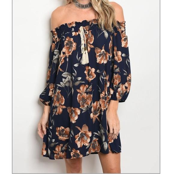 7301c40a08cf Navy Brown Off Shoulder Floral Dress. M 59d8036b620ff797f802232d
