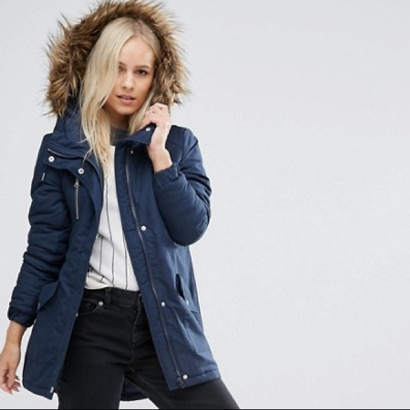 0ab5823ff573 ASOS Jackets & Coats | Noisy May Navy Winter Jacket W Faux Fur Hood ...
