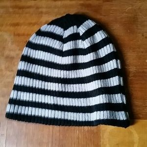 Black and Silver Striped Beanie