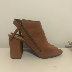 Brown open toed boots