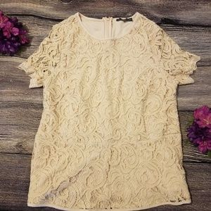 Adrianna Papell Lacey Cream Zip-Up Top