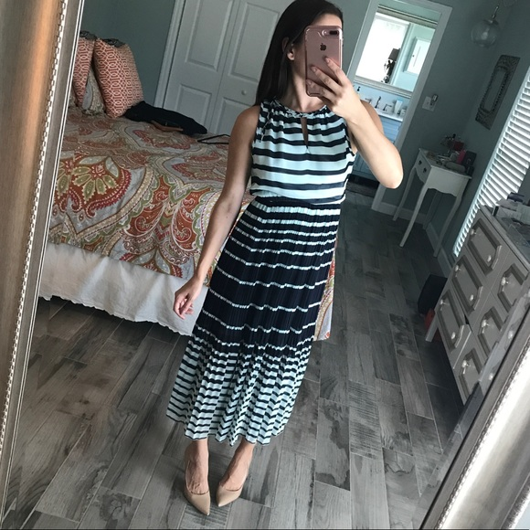 Maison Jules Dresses - Pleated striped midi dress
