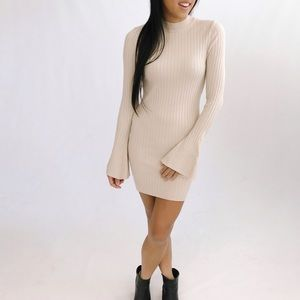 ⭐️ SALE ⭐️ REN Ribbed Knit Dress with Bell Sleeves