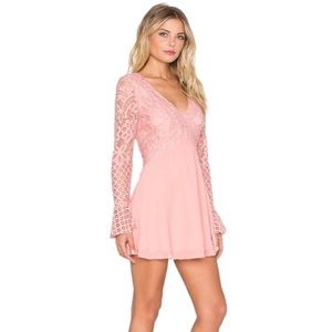 Tularosa Pink long sleeve lace dress w chiffon