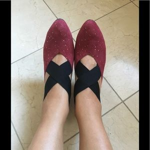 Shoes - Brand New! Sparkle Wine-Red Suede Leather Heels