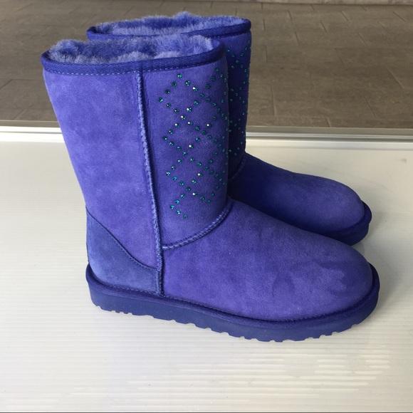 Ugg classic short blue Swarovski boots size 7 new