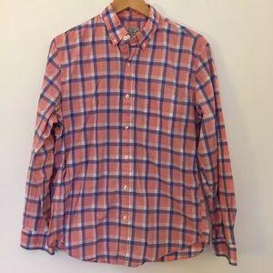 J crew pink blue plaid Button Up shirt