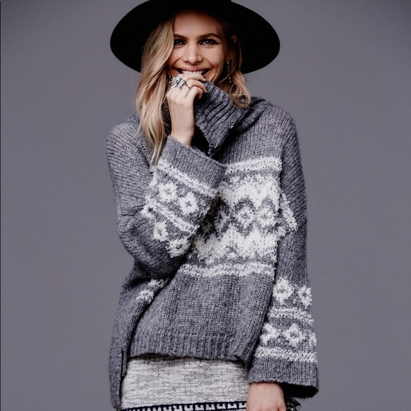 75% off Free People Sweaters - Free People Fair Isle Split Neck ...