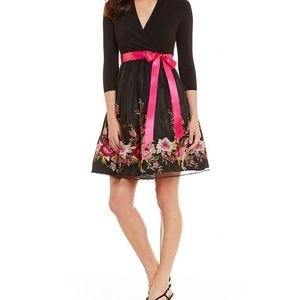 Leslie Fay black dress with embroidery flowers