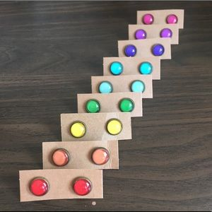 Set of 9 brand new colorful stud earrings