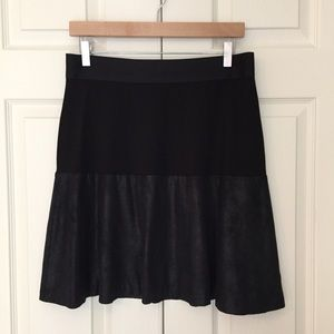 CAbi Black Knit Faux Suede Owens Skirt #548