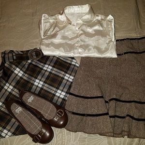 Lot of blouse, two skirts, and flats