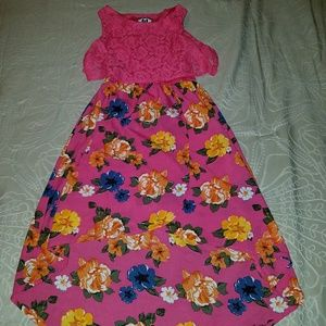Girl's Hot pink floral hi-low sundress