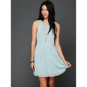 Free People Blue Silver Polka Dot Dress Lace Sz XS
