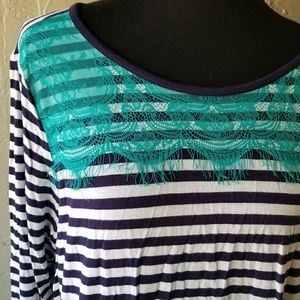Design Histrory Teal laced Navy Blue striped Top