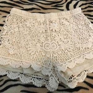 Beige Floral Crochet Cotton Beach Shorts