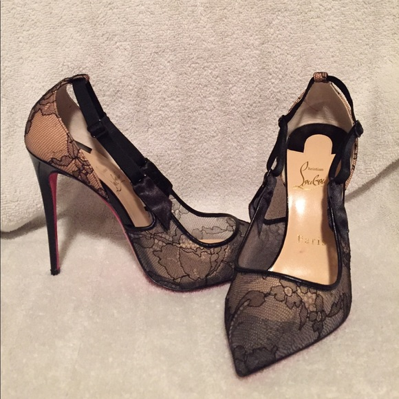 hot sale online 2b80d c10c2 Christian Louboutin black lace shoes sz 7.5 US