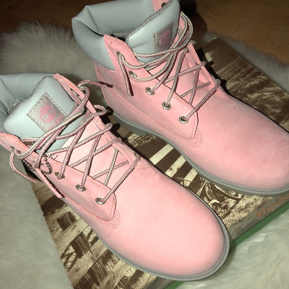 pink and gray timberlands