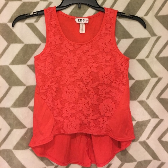 Other - Girls coral color with lace tank top