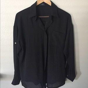 Tops - Black long-sleeved blouse, medium