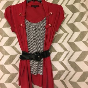 Tops - Red shirt with attached tank
