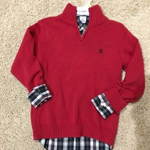 Izod boys red sweater with plaid shirt