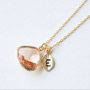 Jewelry - Initial necklace pendant personalized leaf stone