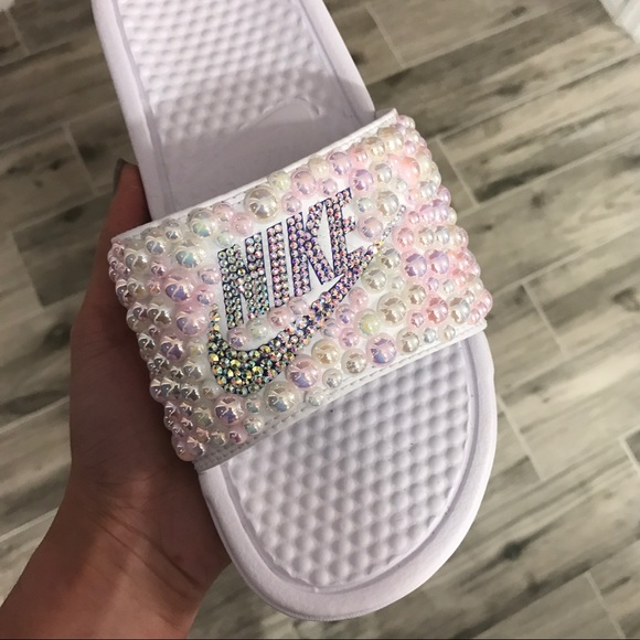 best service cd802 c2daf Nike Bling Custom Slides Pearls and Rhinestones