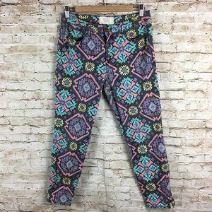 Rachel Roy sz 30 skinny colorful printed jeans