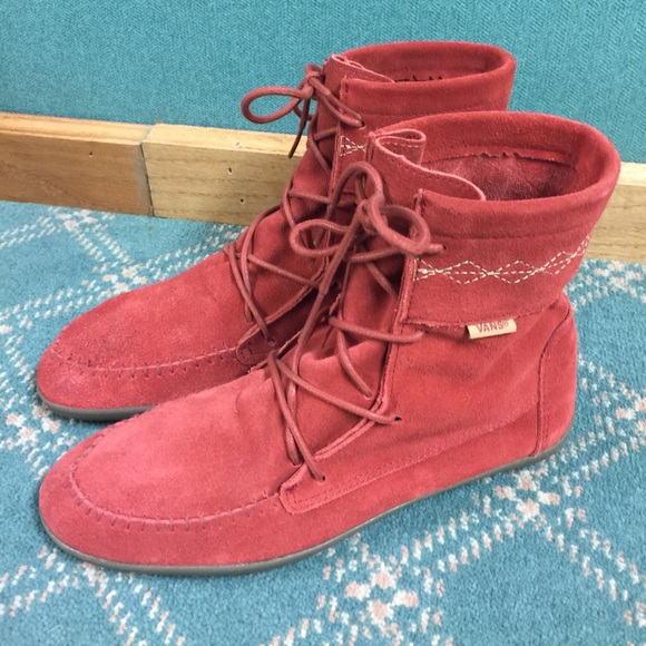 ad6cdef4e32ae Vans Shoes | Womens Red Reddish Suede Moccasin Ankle Boot | Poshmark