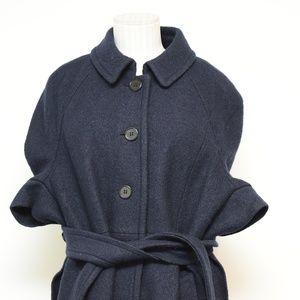 Ann Taylor Navy Blue Medium Wool Blend Cape Poncho