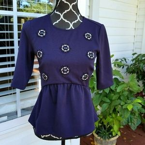 ANN TAYLOR BLUE PEPLUM 3/4 SLEEVE BLOUSE TOP