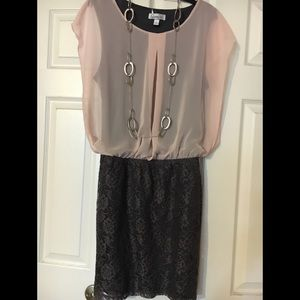 Pink and grey lace dress size large