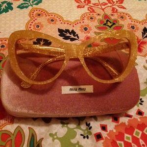 MIU MIU Yellow Gold Cat Eye Sunglasses w/Case