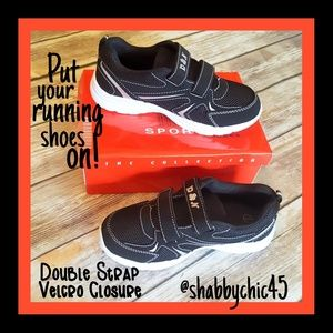 Boys Athletic Sneakers with Double Velcro Straps