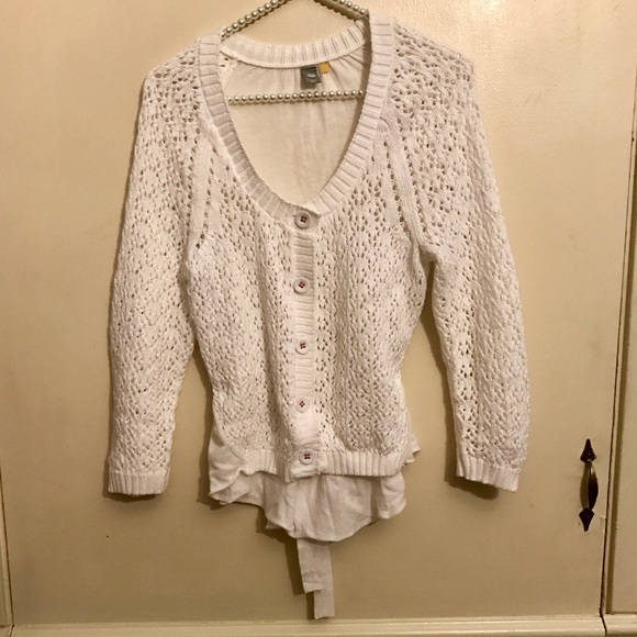 Anthropologie Sweaters Anthro Knitted Knotted White Crochet