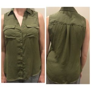 New York & Company Army Green Blouse