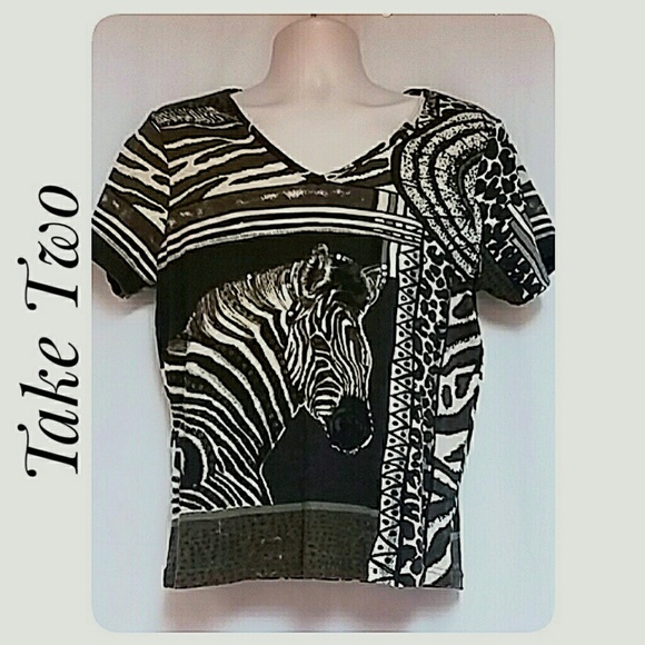 Take Two Tops - Zebra Animal Print Top Short Sleeve Brown Cream XL