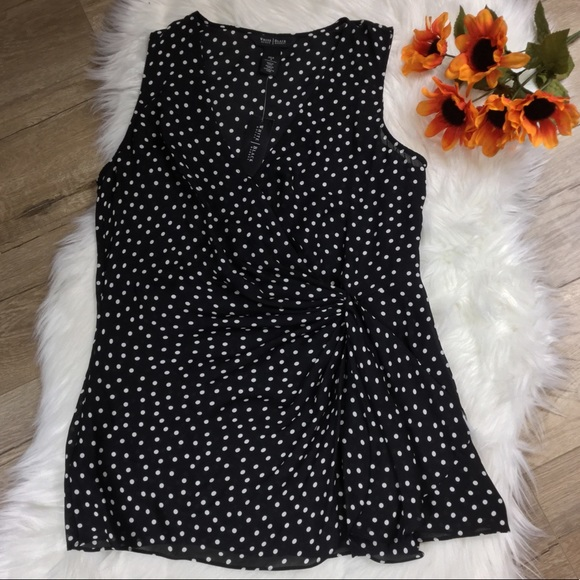 36dc4c034f WHBM silk polka dot sleeveless blouse