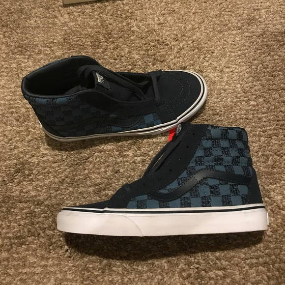Vans custom SK8 HI in navy and blue checkered 7410aedbe