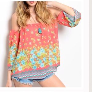 Off The Shoulder Flower Blouse