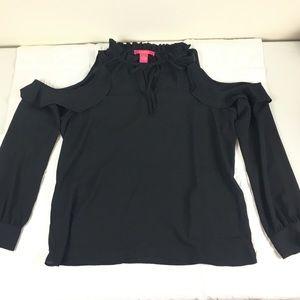 Catherine Malandrino Black blouse shoulder cut out